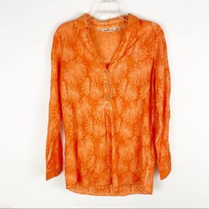 Soft Surroundings acid wash embroidered blouse